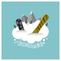 Плоский минималистичный логотип на тему сноуборда