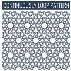 Ornamental seamless loop arabic or islamic geometric pattern tiles.