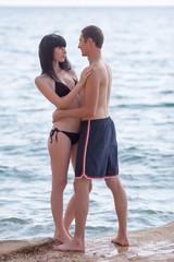 Romantic couple on seashore