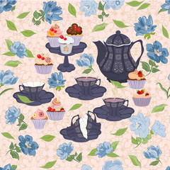 Seamless pattern with teapots, cups, cupcakes, flowers.