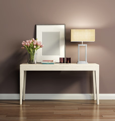 Elegant chic brown interior with a console table
