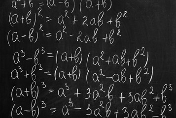School blackboard with formulas