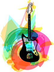 colorful electric guitar illustration
