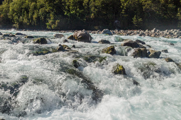 Rapids at Saltos del Petrohue waterfalls in National Park Vicente Perez Rosales, Chile