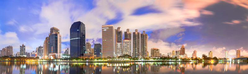 Bangkok city downtown in panorama view at sunrise, Thailand.