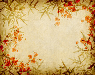 Fototapete - bamboo and plum blossom on old antique paper texture