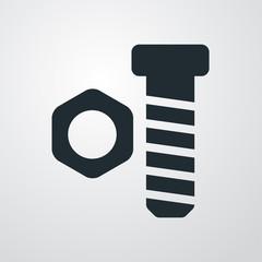 Icono plano tuerca y tornillo sobre fondo degradado