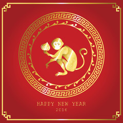 Light red happy chinese new year 2016 with circle