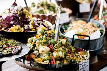 Buffet of assorted fresh salads