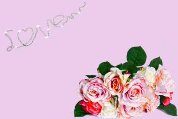 Romantic Rose for .Romantic Valentine's Day pink background