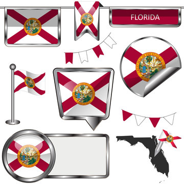 Glossy icons with flag of state Florida