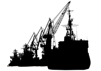 Silhouettes of cargo cranes in the seaport on white background