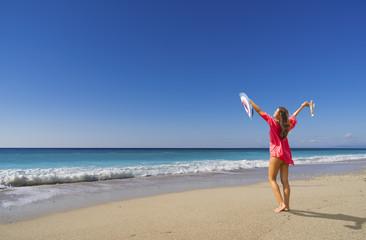 Beautiful woman on the beach in Bali