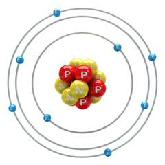 Oxygen atom on white background