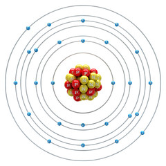 Ferrum atom on a white background