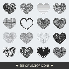 Different abstract heart icons collection. Set vector illustrati