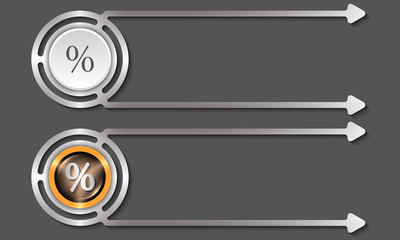 Silver abstract boxes for your text and percent icon