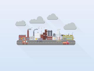 Flat Design Industrial Area Vector Illustration