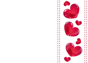 Red hearts valentine vector background