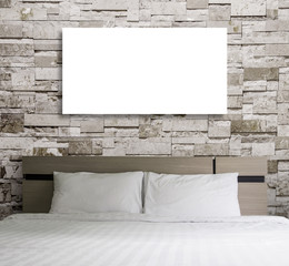 Blank frame on wall in the bedroom