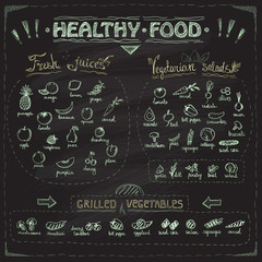 Healthy food chalkboard menu with hand drawn assorted fruits and vegetables.