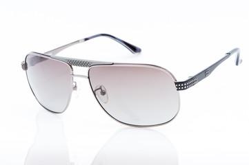 purple sunglasses on white background