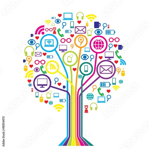 Round communication tree web icon stock image and for Scuola web design