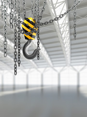 empty warehouse interior with crane hook with chains