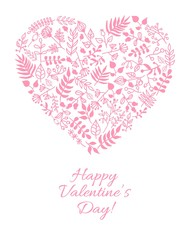 Vector Valentine card with doodle floral illustration in heart shape