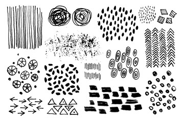 Vector set of hand drawin ink textures.