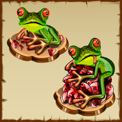 Funny frog picture on a pile of precious stones