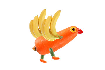Creative food concept. Funny little bird, made of fruits and veg