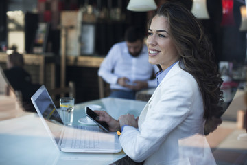 Businesswoman in a coffe shop