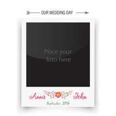 Retro wedding photo frame polaroid. Template for photo of the bride and groom. Vector  illustration
