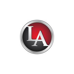 LA initial circle logo red