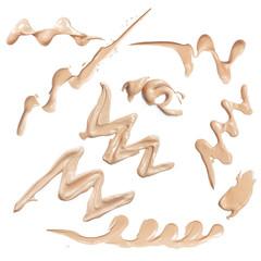 set of make up liquid foundation strokes