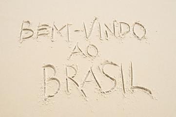Brazil Bem-vindo ao Brasil (Welcome to Brazil) message in Portuguese handwriting in sand
