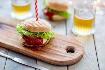 Homemade hamburger with beer