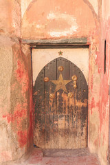 Arabic oriental styled door in Marrakech, Morocco..