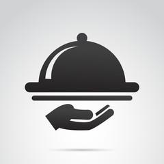 Restaurant tray, waiter icon. Vector art.