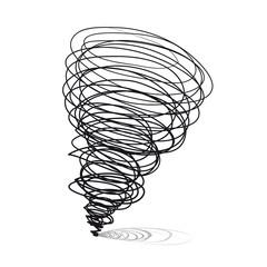 Vector hand-drawn illustrations. Cyclone tornado