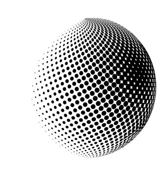 halftone globe, sphere vector logo symbol, icon, design. abstract dotted globe illustration isolated on white background.