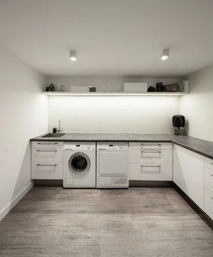 Interior of house, laundry