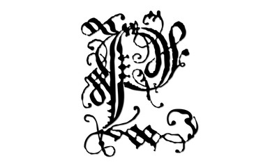 P majuscule gothique.