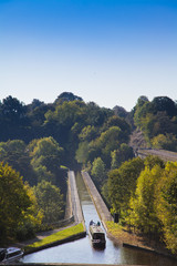 Chirk Aqueduct, views of canal boat and the railway and canal bridges