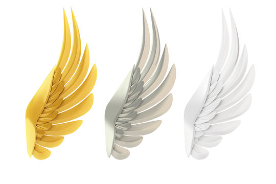 Golden, silver and white wings, isolated on white background.