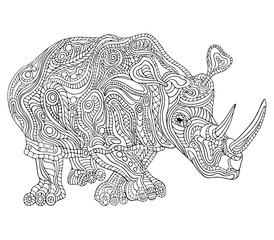 Hand drawn vector illustration with geometric and floral elements. Original hand drawn Rhinoceros.