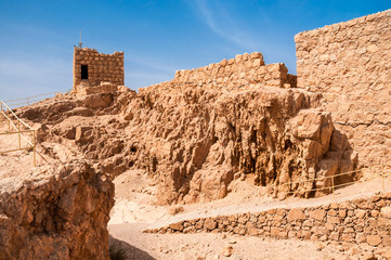 Ruins of fortress Masada, Israel. sunny day