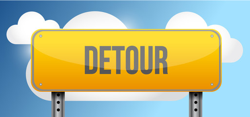 detour yellow street road sign