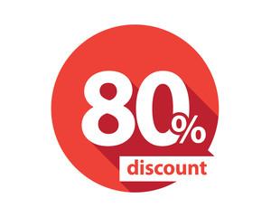 80 percent discount red circle